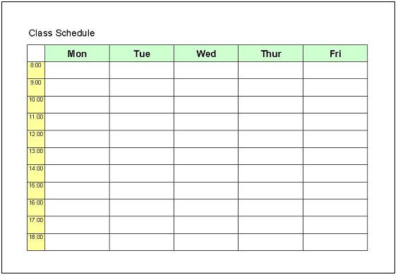 timetable outline template - excel college work schedule template search results